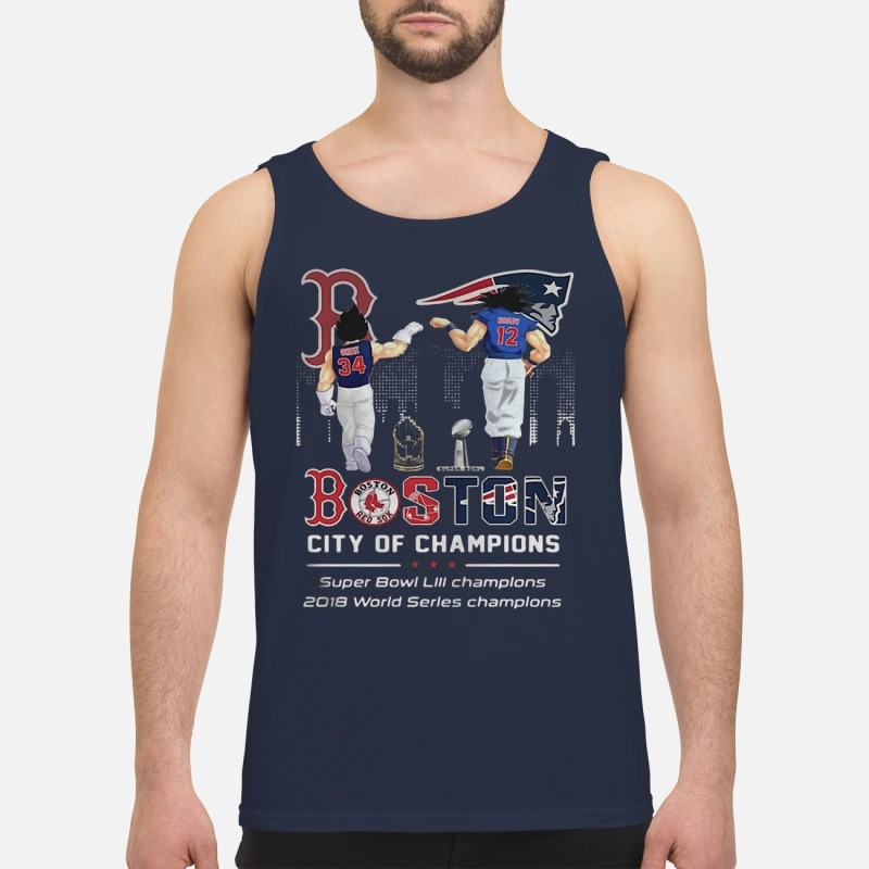 Son Goku And Vegeta Patriots Boston City Of Champions Super Bowl Tank Top