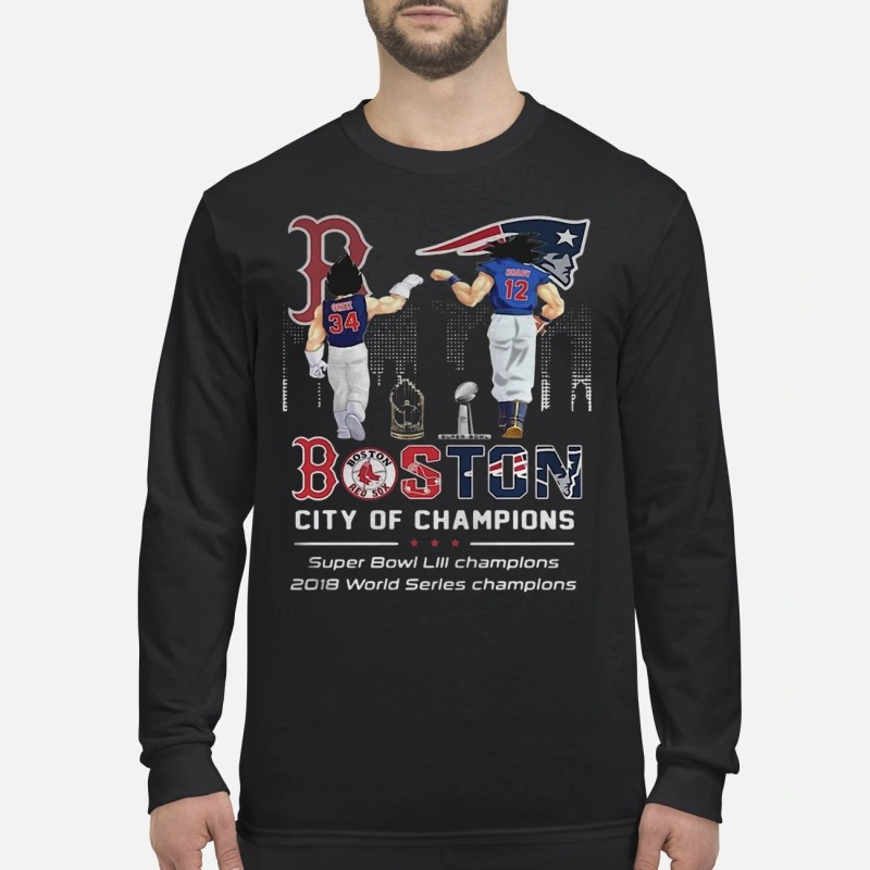 Son Goku and Vegeta Patriots Boston City of Champions Super Bowl Longsleeve Tee