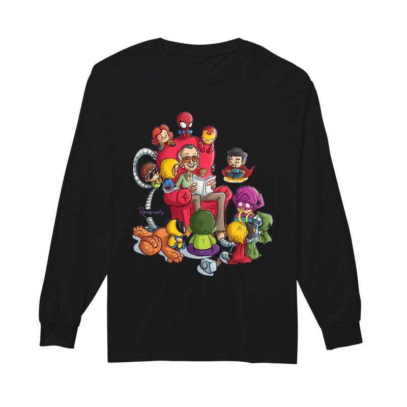 Stan Lee And Superhero Renography Longsleeve Tee