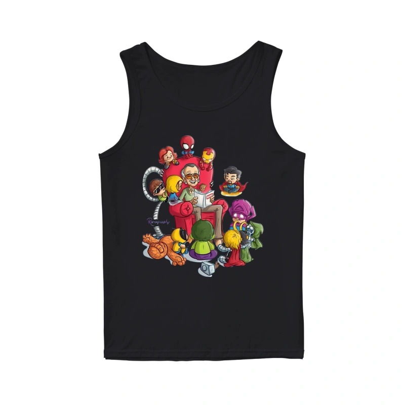 Stan Lee And Superhero Renography Tank Top
