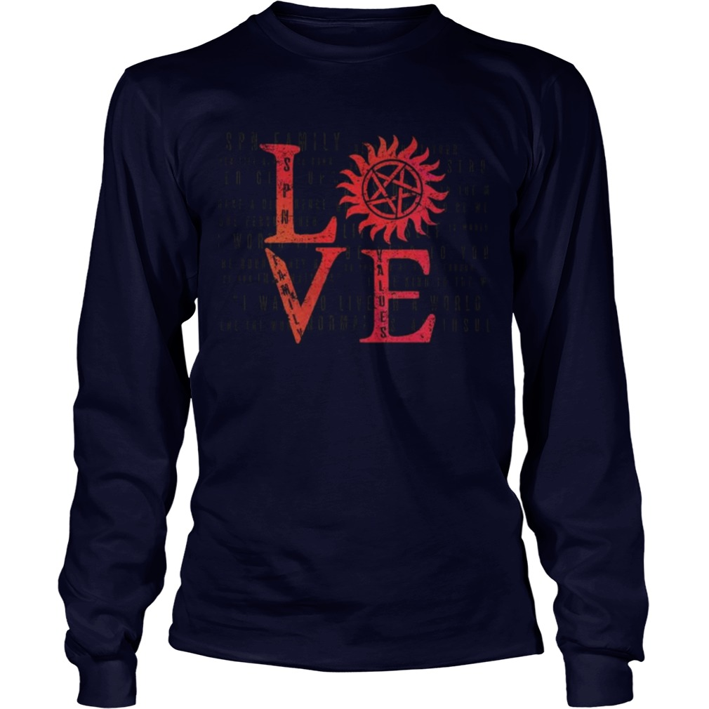 Stands SPN Family Love Longsleeve Tee Back For Limited Time