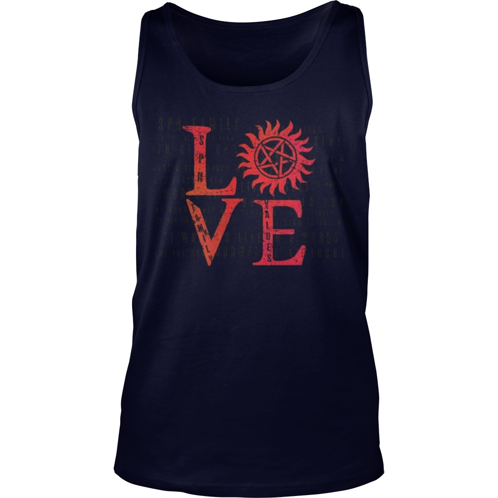 Stands SPN Family Love Tank Top Back For Limited Time