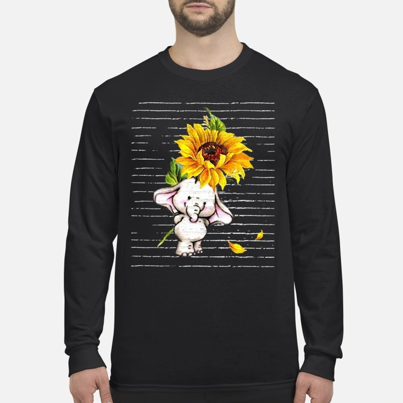 Sunflower Baby Elephant Cute Longsleeve Tee