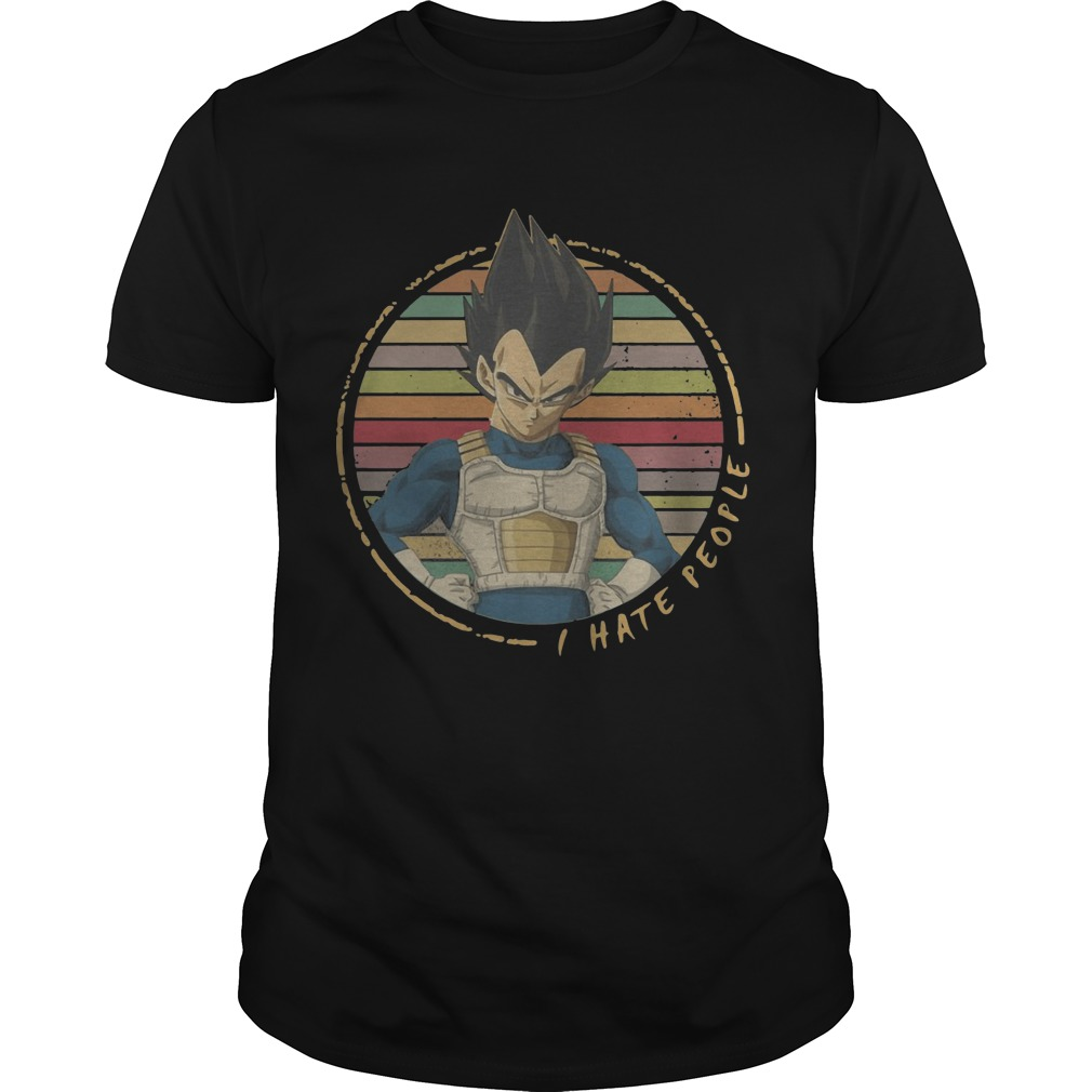 The Retro Sunset Vegeta I Hate People Shirt