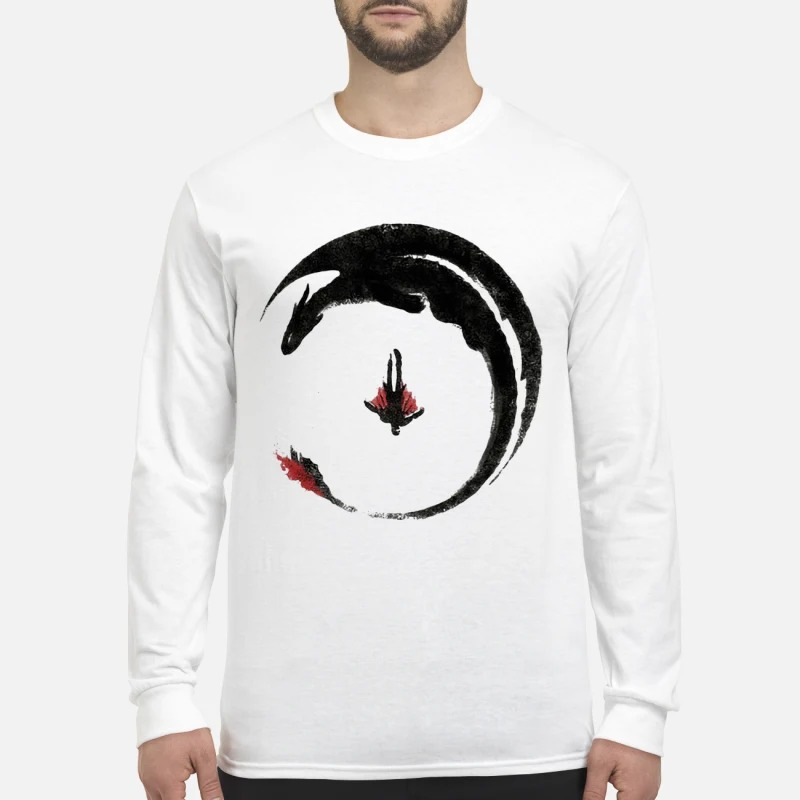 Toothless And Hiccup Flying Watercolor Drawing Longsleeve Tee