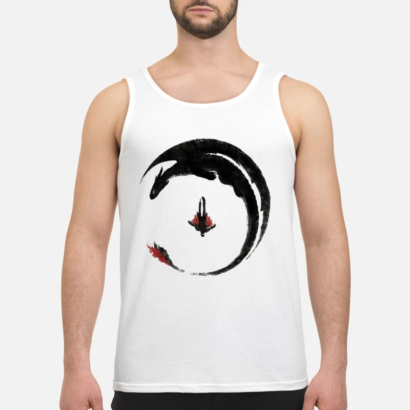Toothless And Hiccup Flying Watercolor Drawing Tank Top