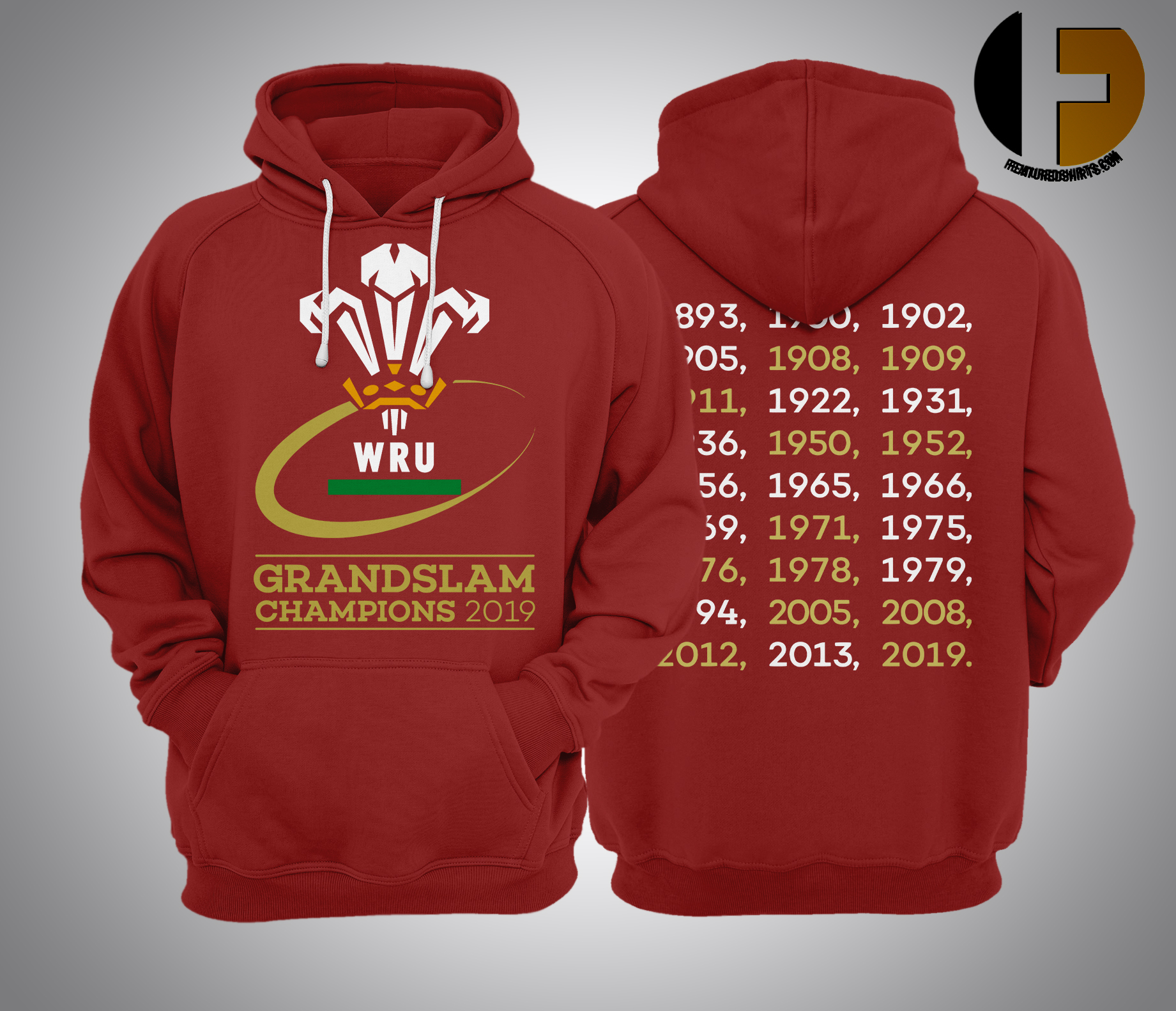 Welsh Rugby 2019 Grand Slam Champions Hoodie