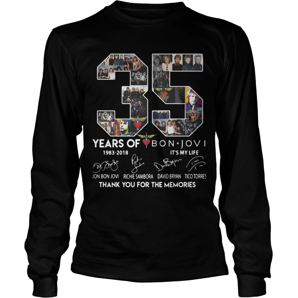 35 Years Of Bon Jovi Thank You For The Memories Longsleeve Tee