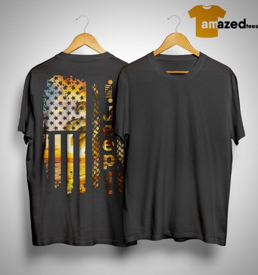 American Beach Flag Jeep Shirt