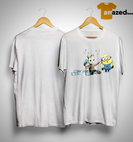 Groot And Minion Listening To Music Shirt