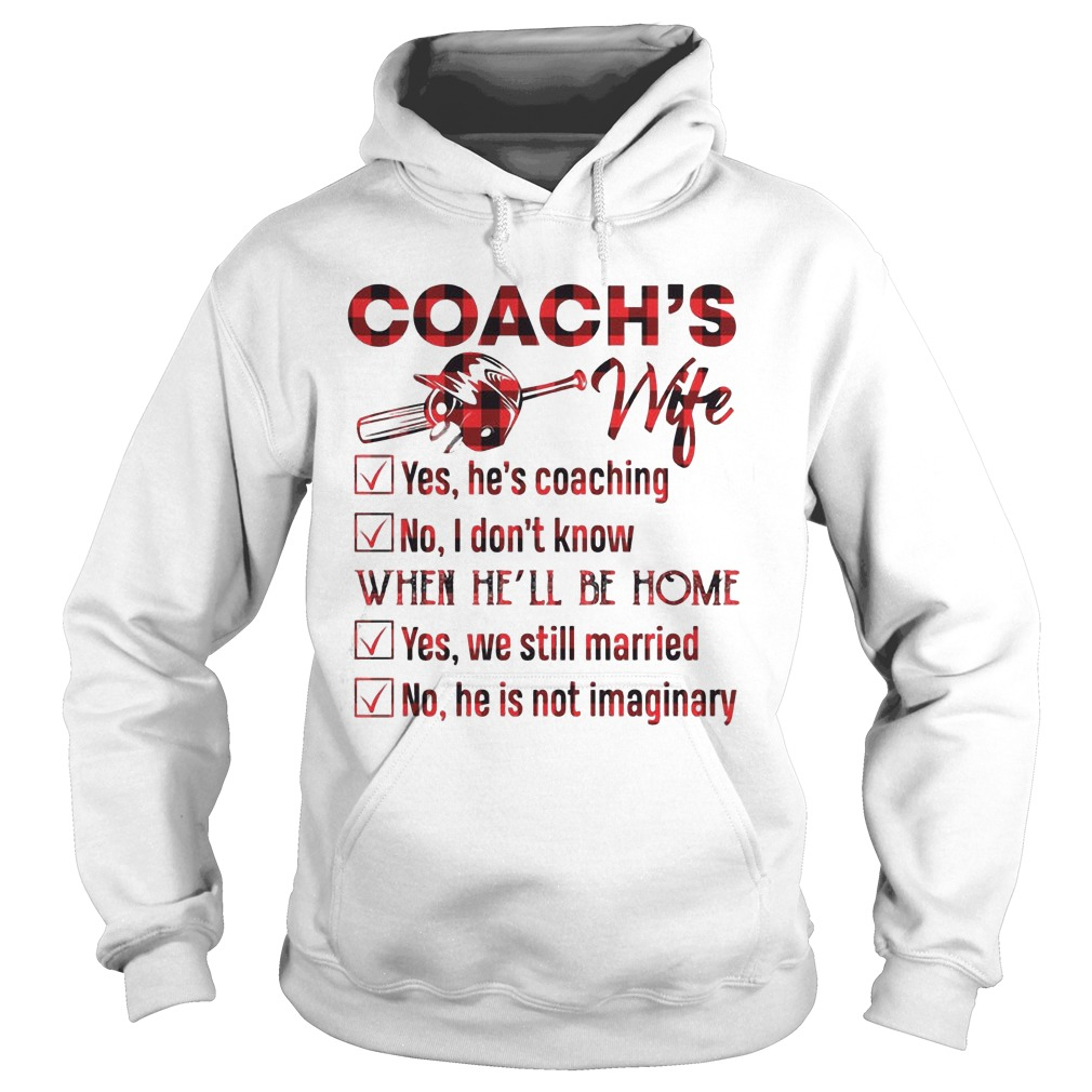 Softball Coach's Wife Yes He Is Coaching No I Don't Know When He'll Be Home Hoodie