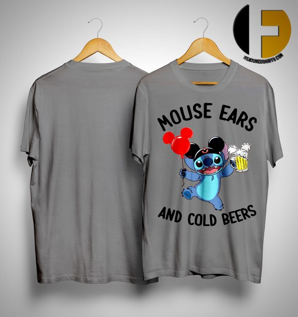 Stitch Mickey Mouse Ears And Cold Beers Shirt