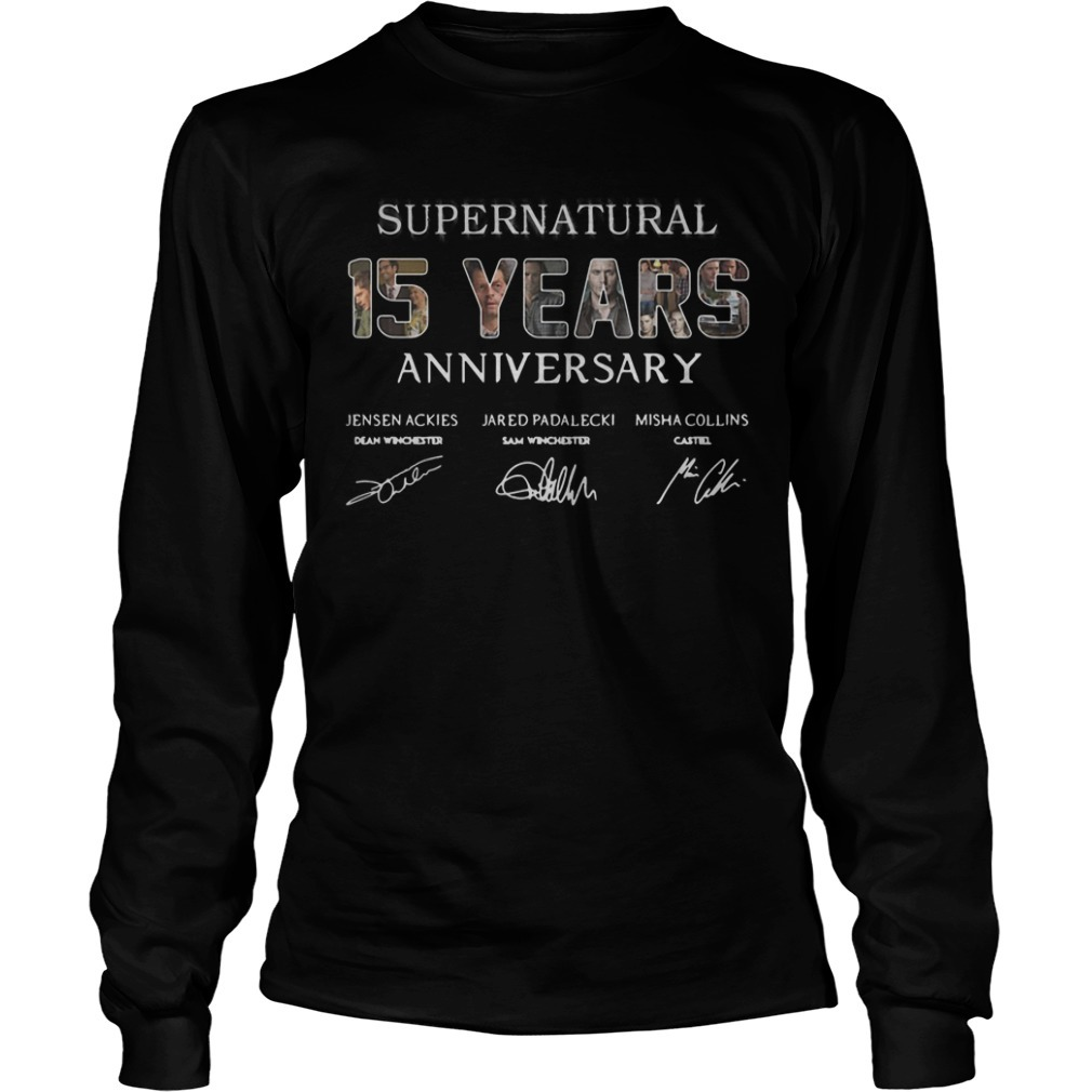 Supernatural 15 Years Anniversary All Signatures Longsleeve Tee