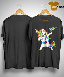 Unicorn Dabbing Autism Flag Shirt