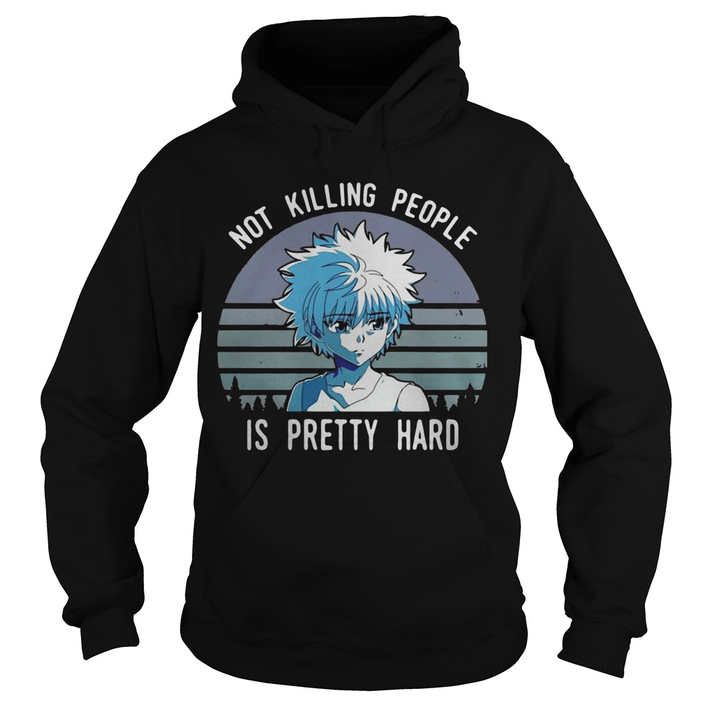 Vintage Sunset  Killua Not Killing People Is Pretty Hard Hoodie