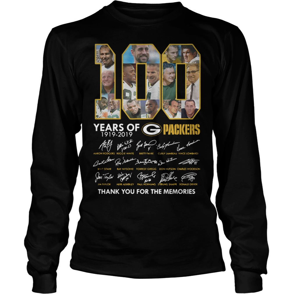 100 Years Of Green Packers Thank You For The Memories Longsleeve Tee