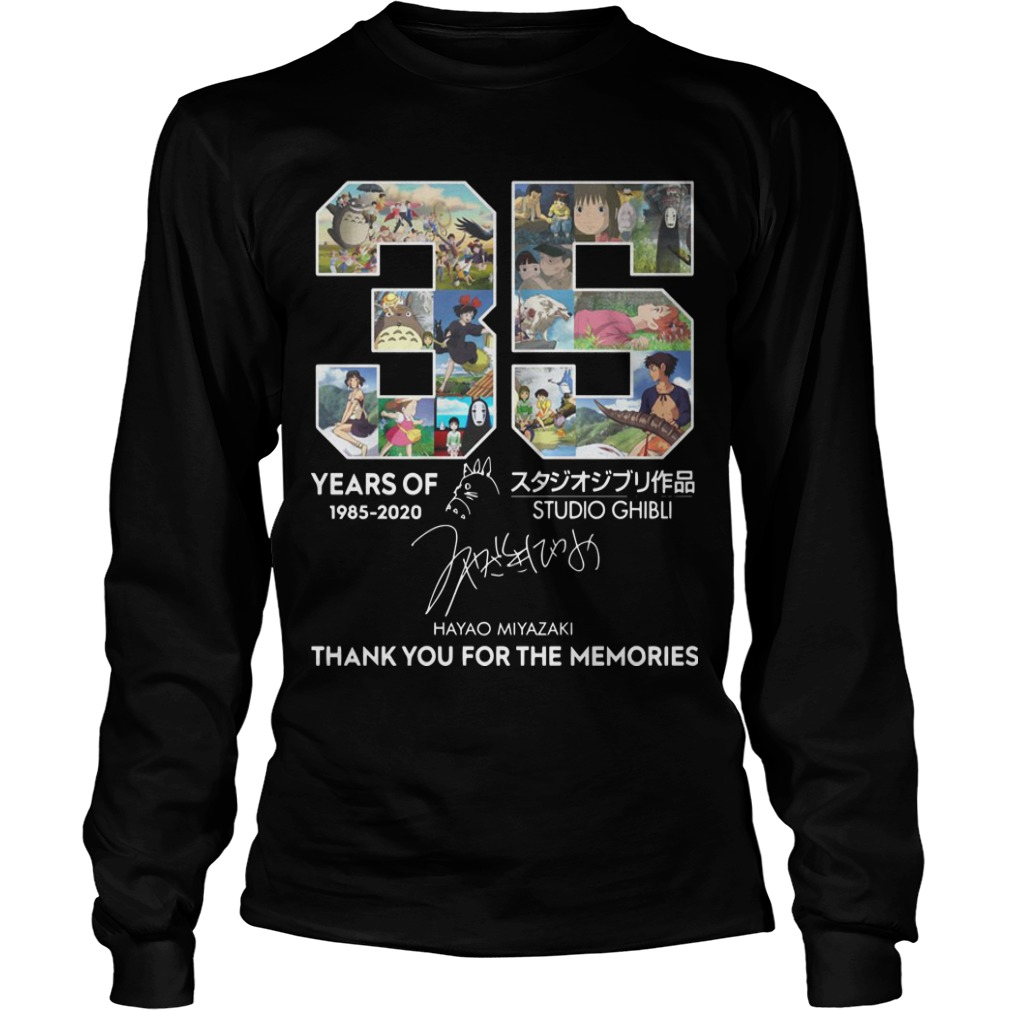 35 Years Of Studio Ghibli 1985 2020 Hayao Miyazaki Thank You For The Memories Longsleeve Tee