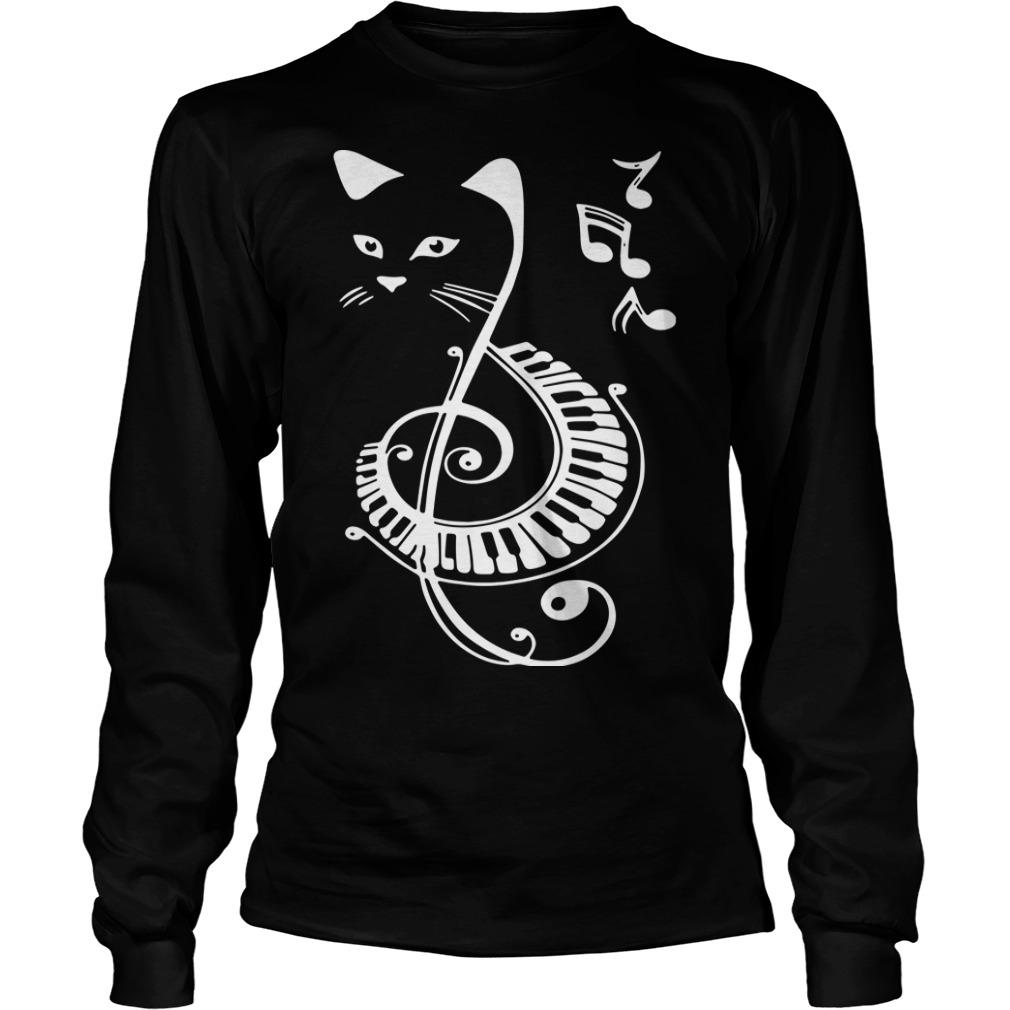 Cat Treble Clef Love Music Longsleeve Tee