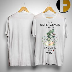 Floral I'm A Simple Woman I Love Cycling And Wine Shirt