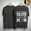 Floral My Favorite Soldier Calls Me Mom Shirt