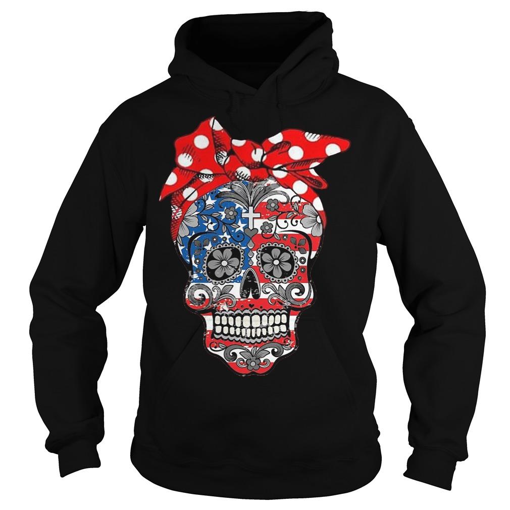 Hippie Skull American Flag Hoodie