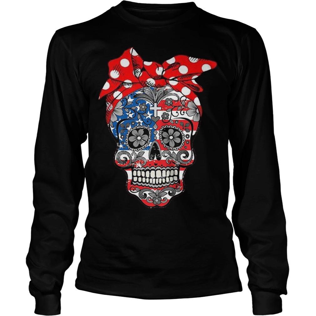 Hippie Skull American Flag Longsleeve Tee