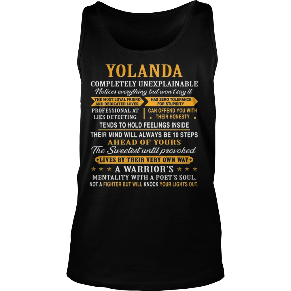 Yolanda Completely Unexplainable Notices Everything But Won't Say It Tank Top