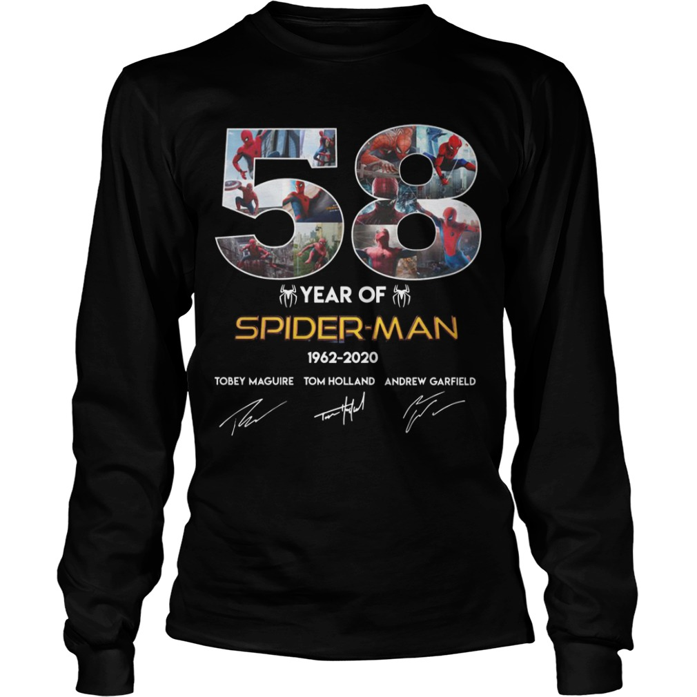 58 Year Of Spider Man 1962 2020 Longsleeve Tee