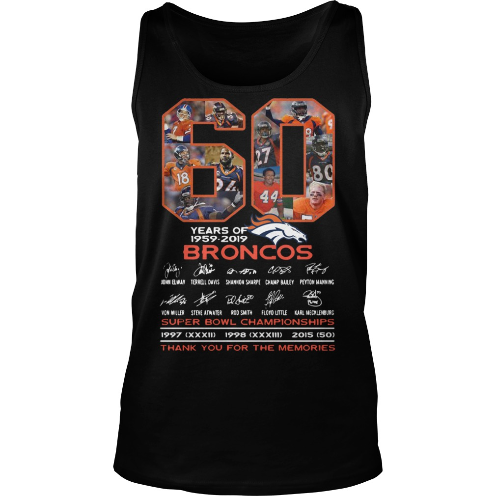 60 Years Of Broncos Super Bowl Championships Thank You For The Memories Tank Top