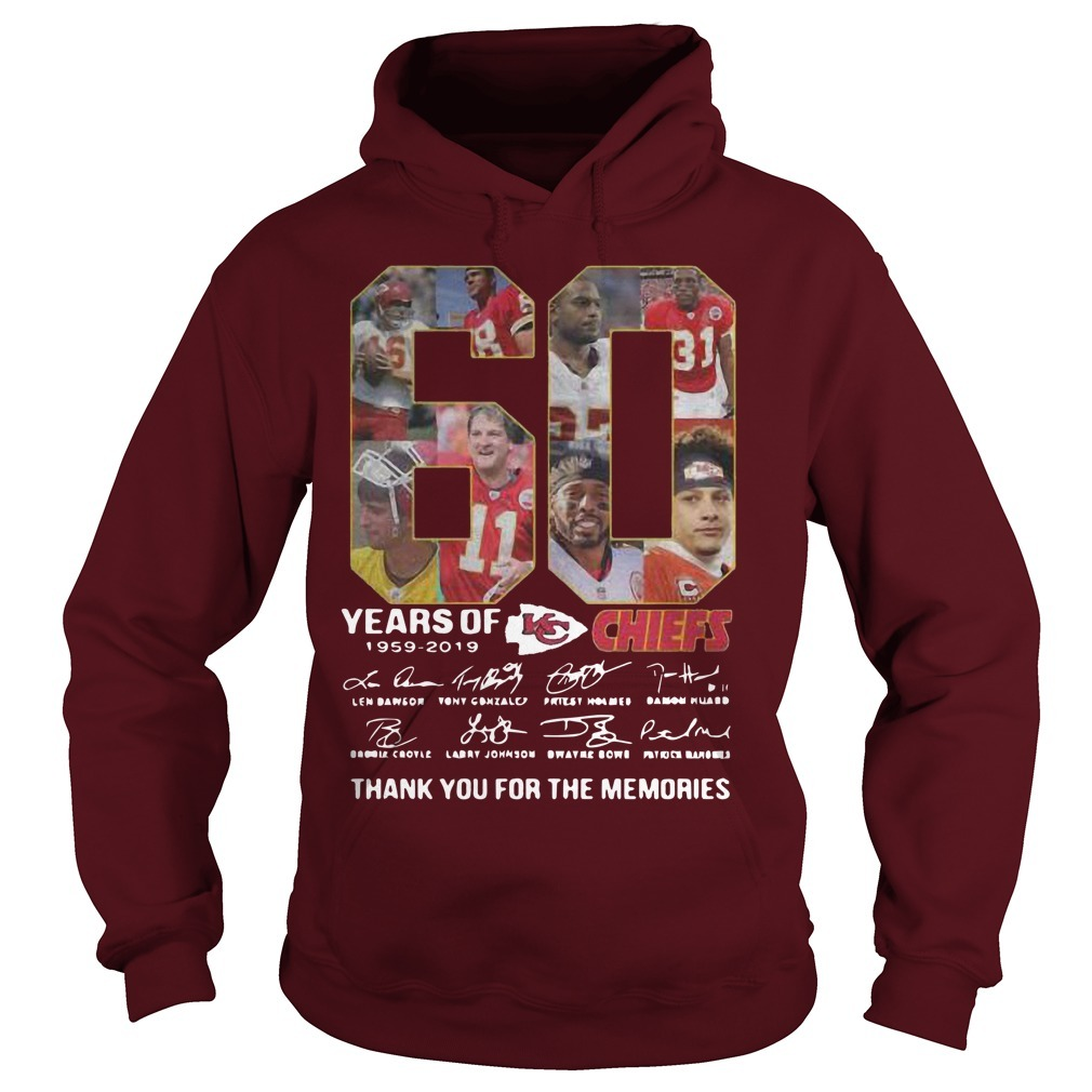 60 Years Of Kansas City Chiefs 1959 2019 Thank You For The Memories Hoodie