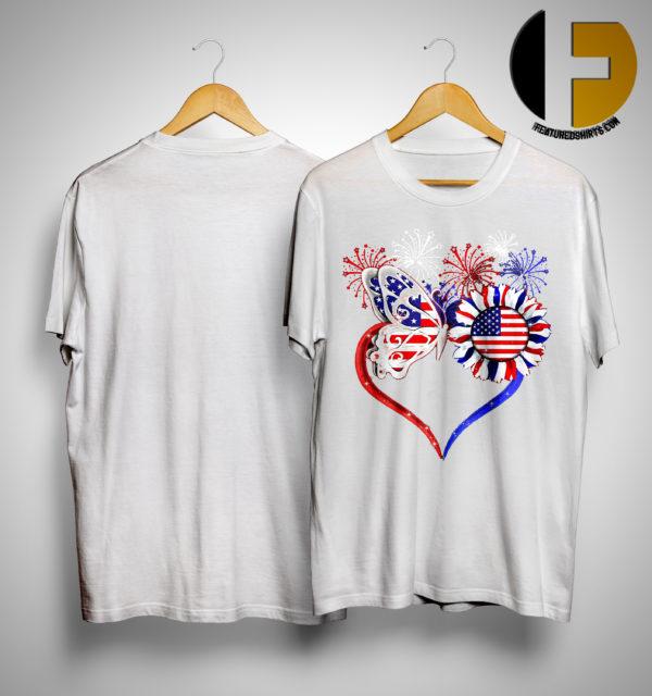 American Flag Butterfly Sunflower Shirt