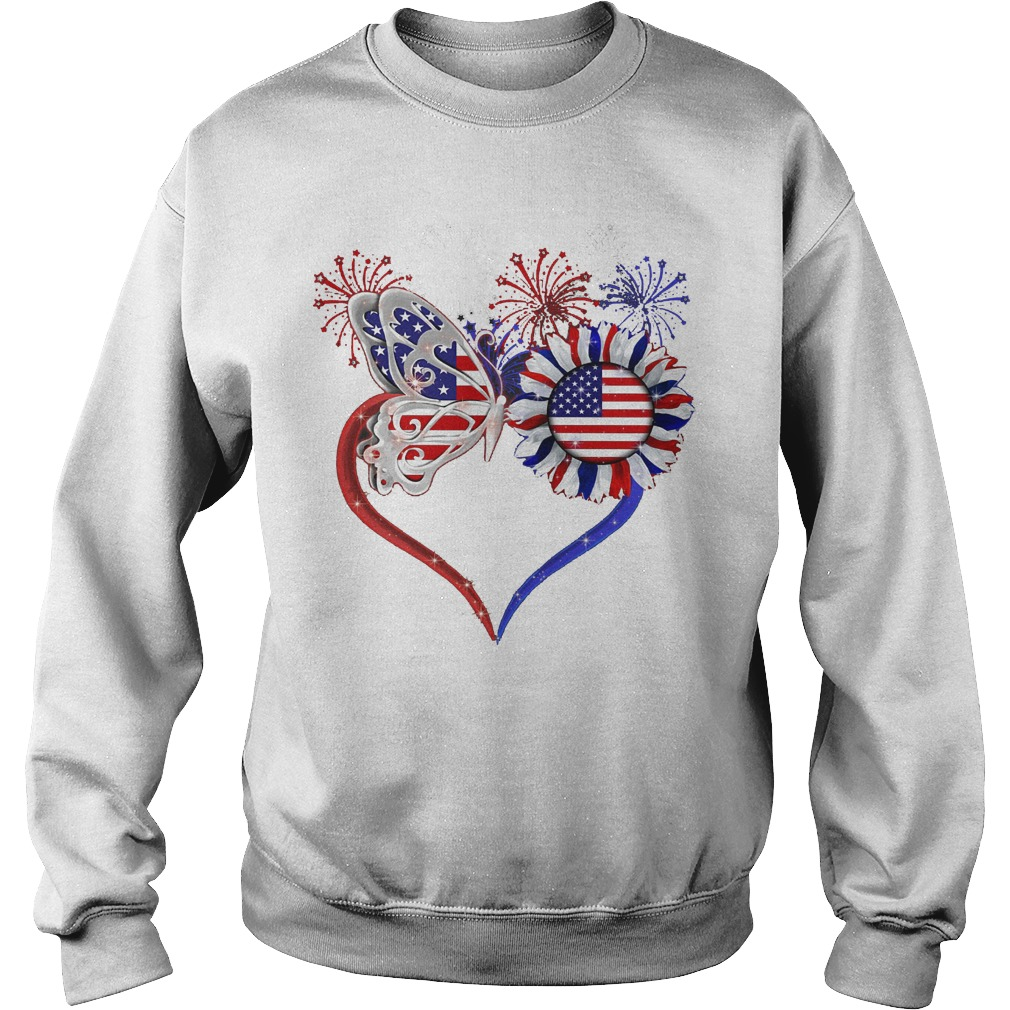 American Flag Butterfly Sunflower Sweater