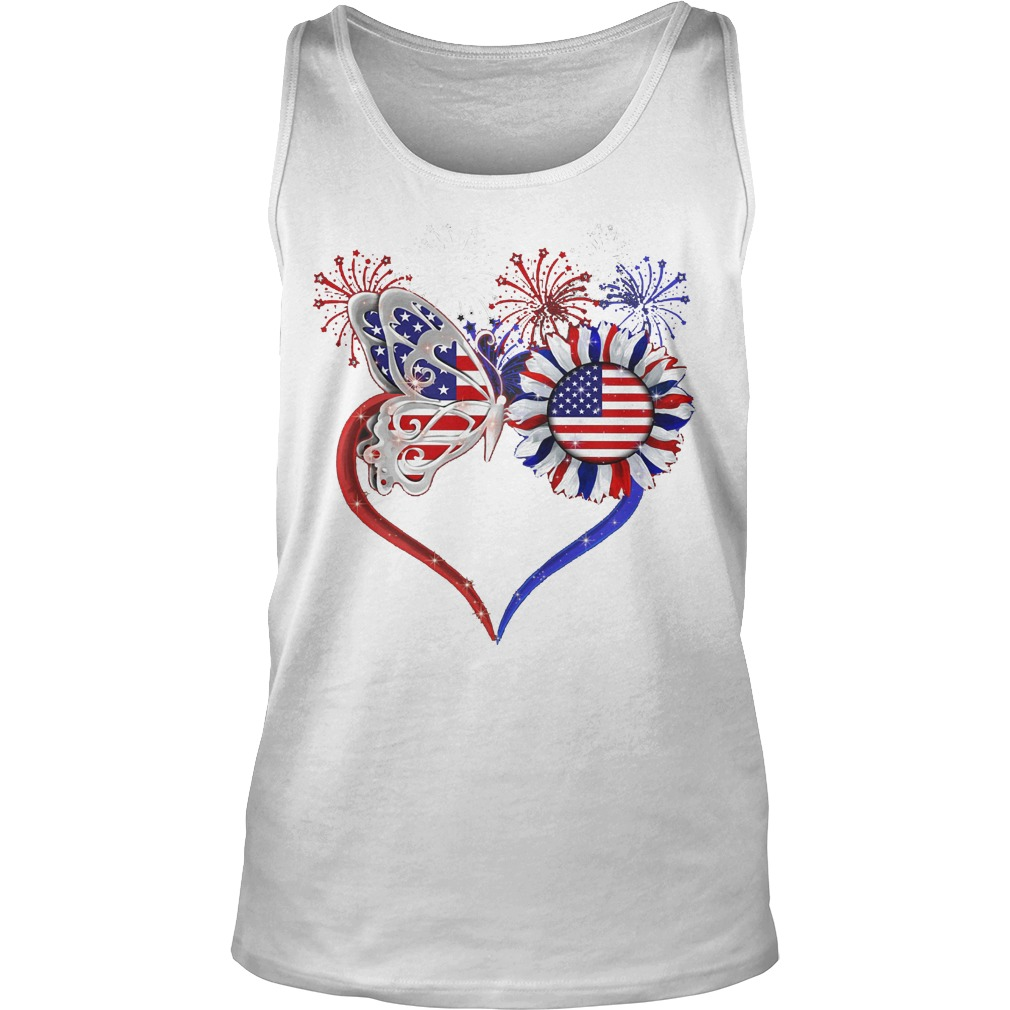 American Flag Butterfly Sunflower Tank Top