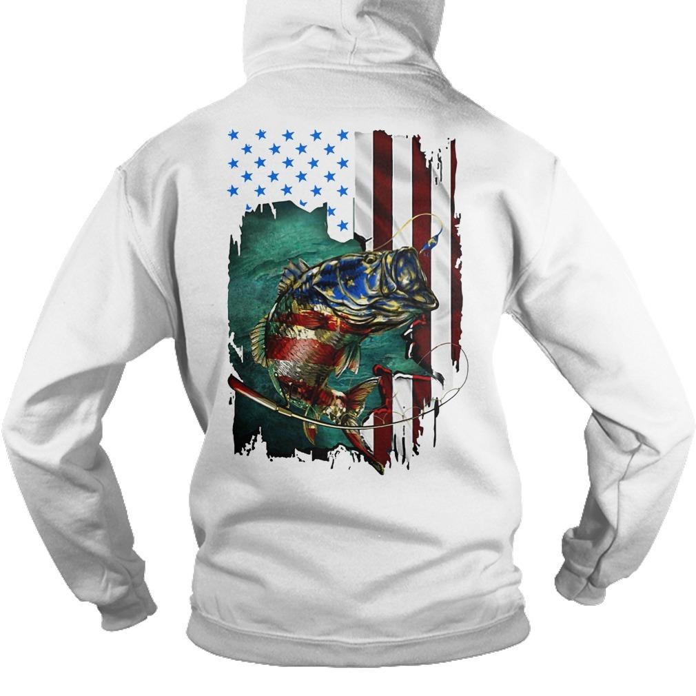 American Flag Fishing Salmon Hoodie