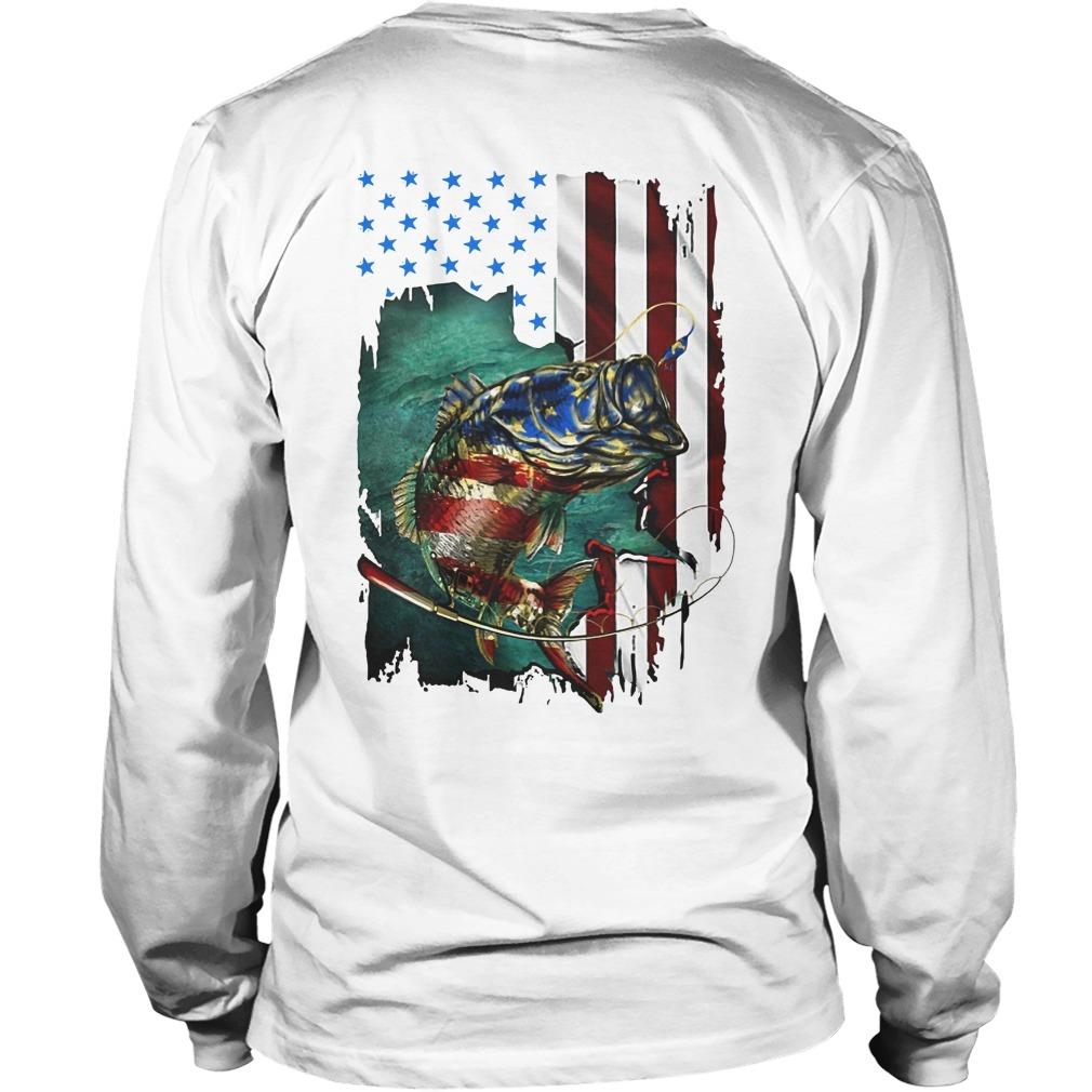 American Flag Fishing Salmon Long SLeeve Tee