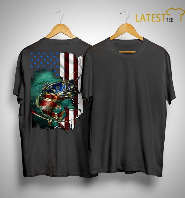 American Flag Fishing Salmon Shirt