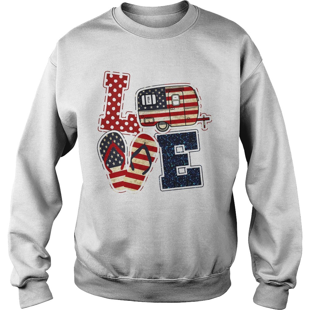 American Flag July 4th Car Sandals Love Sweater