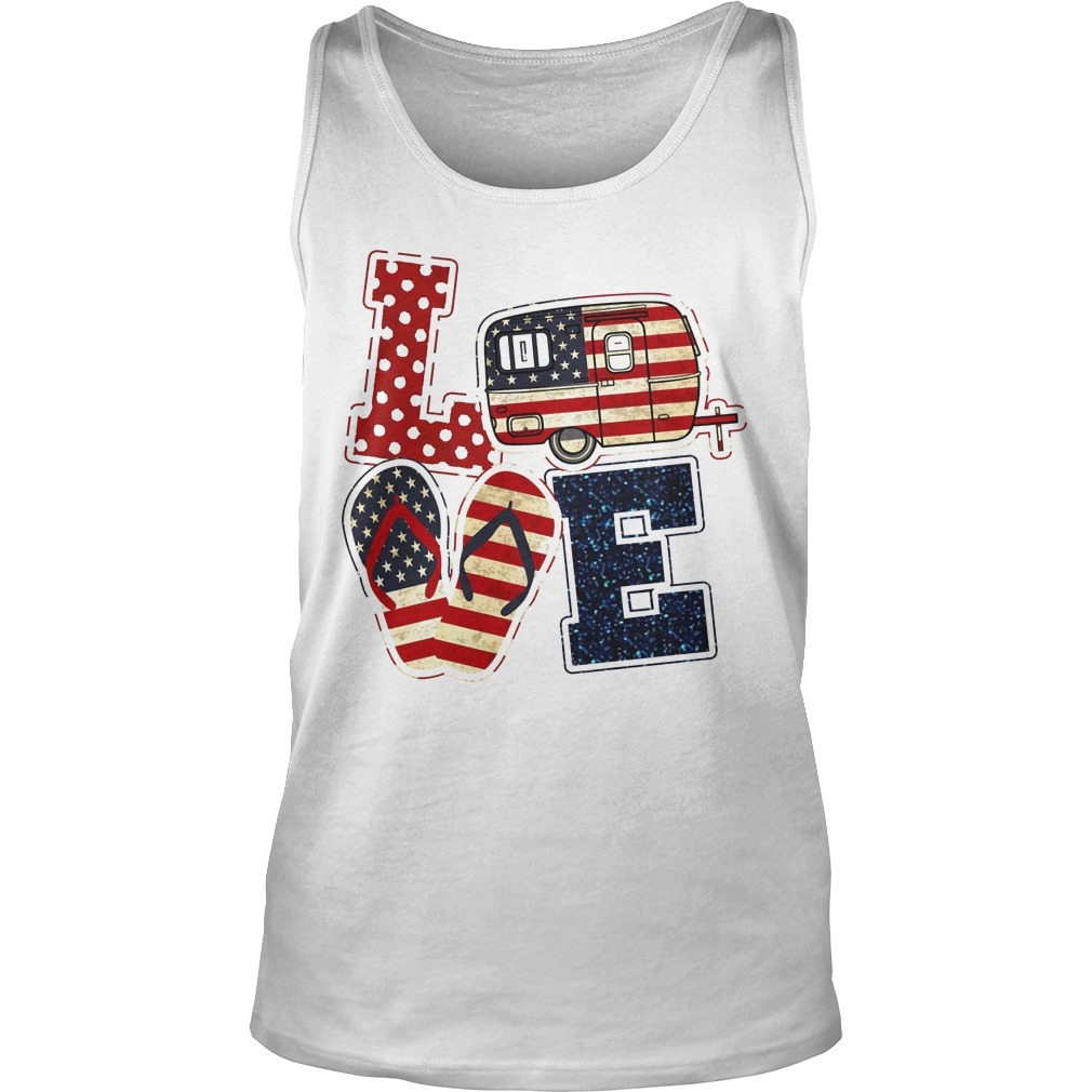 American Flag July 4th Car Sandals Love Tank Top