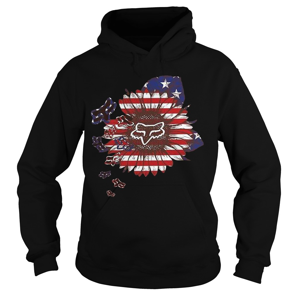 American Flag Sunflower Fox Racing Hoodie