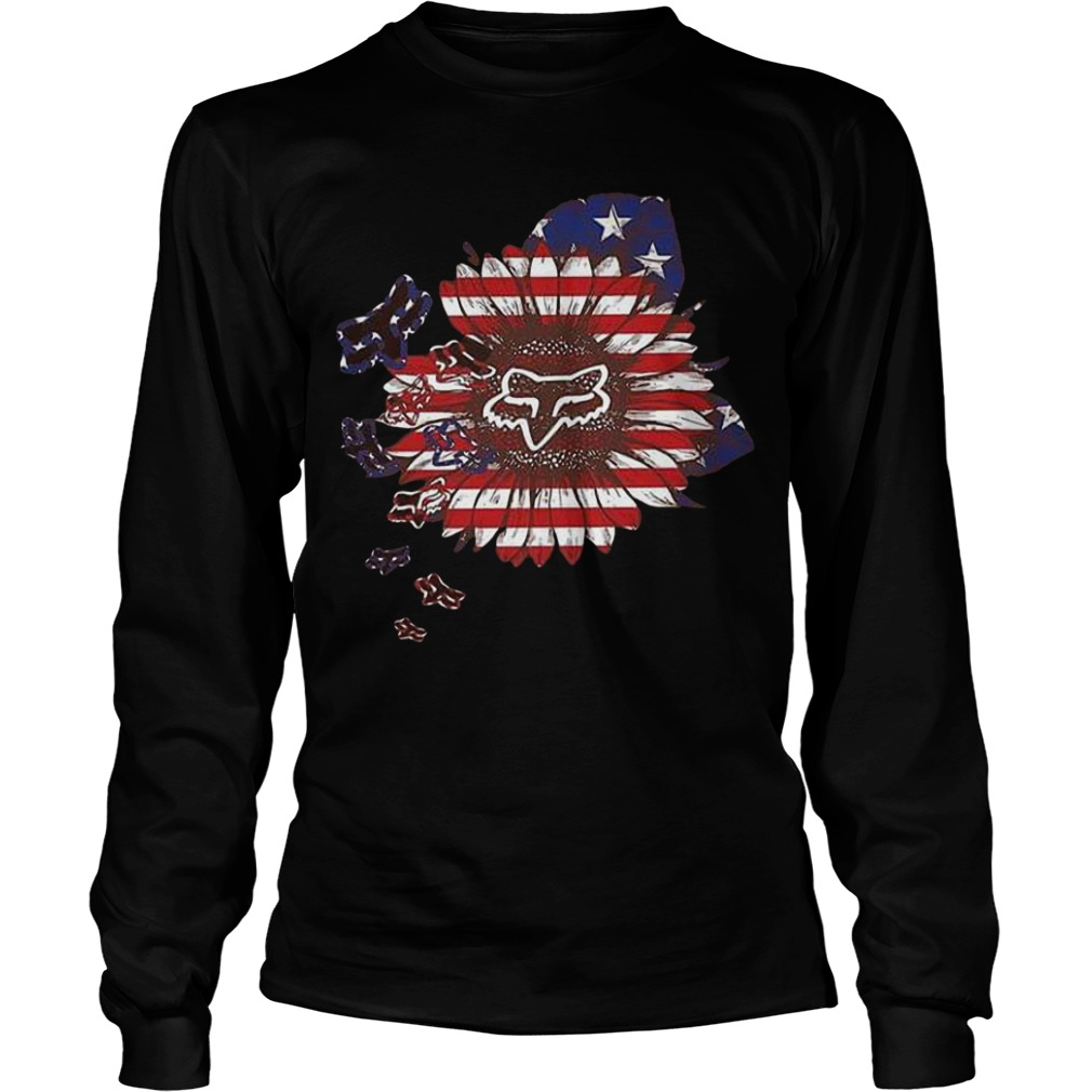 American Flag Sunflower Fox Racing Longsleeve Tee