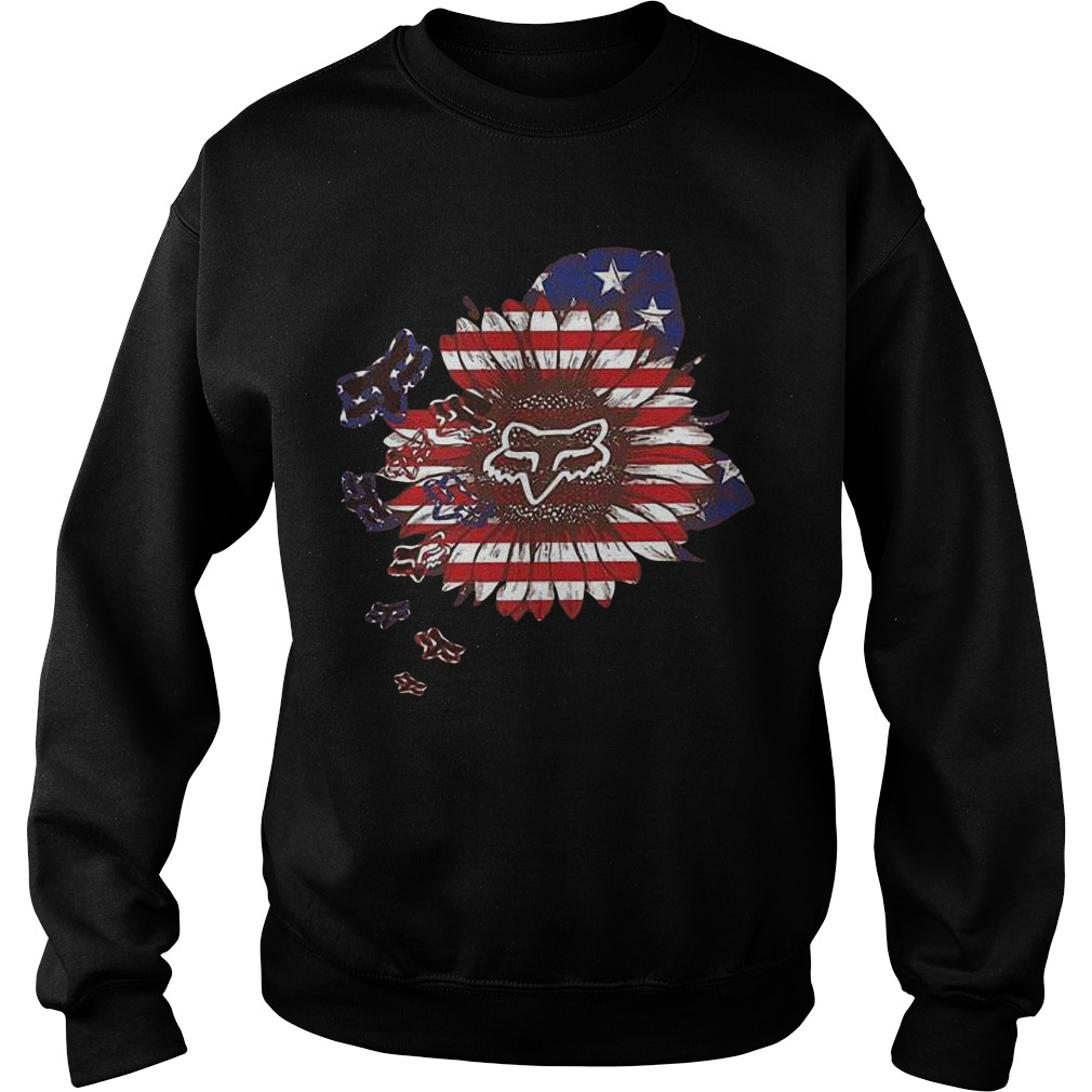 American Flag Sunflower Fox Racing Sweater