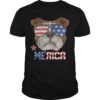American Flag Sunglasses Bulldog Merica 4th July Independence Day Shirt