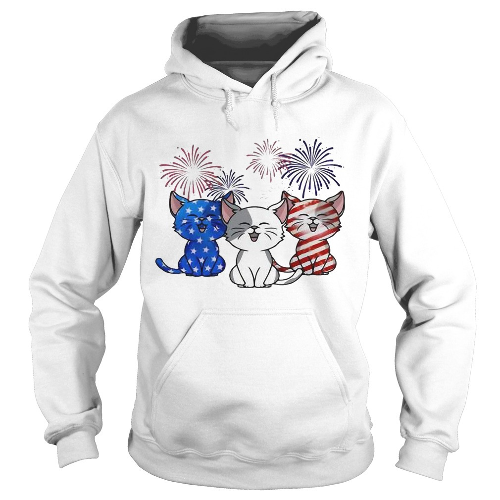 American Flag Three Cats Red White And Blue Hoodie