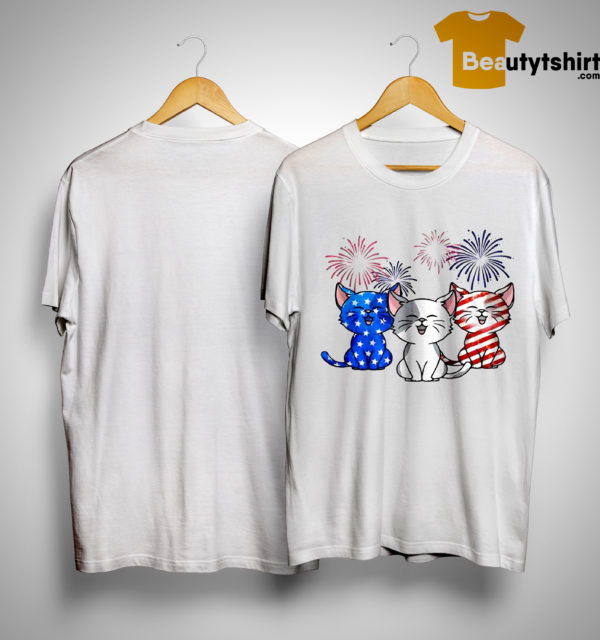 American Flag Three Cats Red White And Blue Shirt