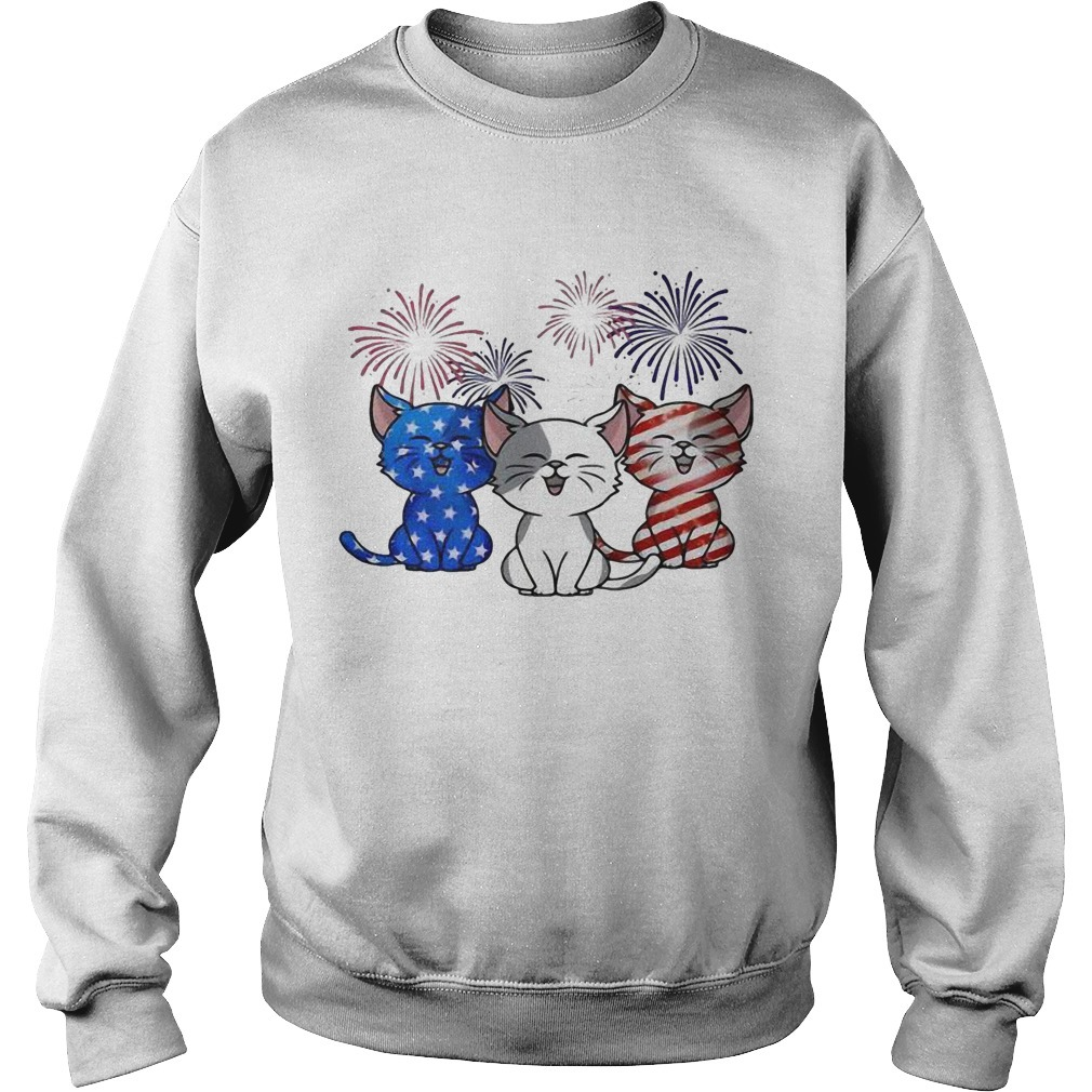 American Flag Three Cats Red White And Blue Sweater