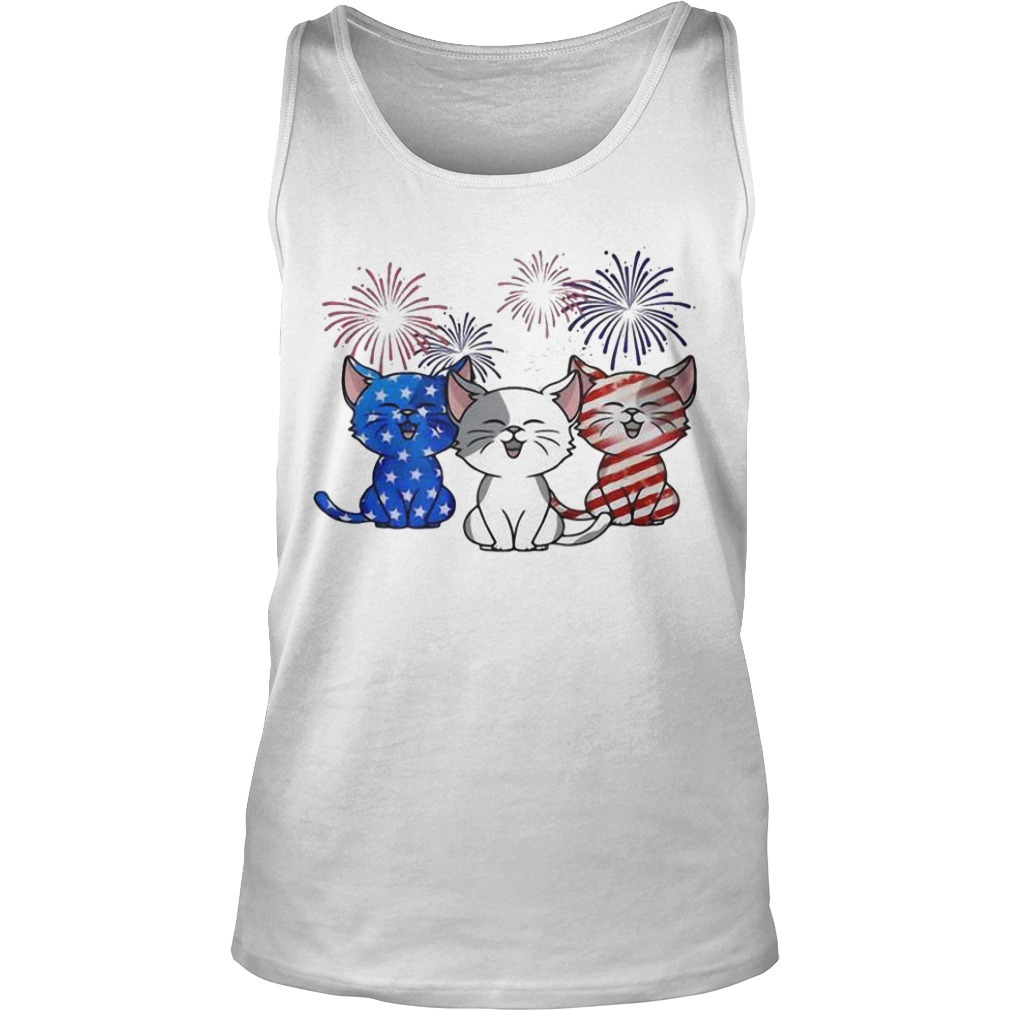 American Flag Three Cats Red White And Blue Tank Top