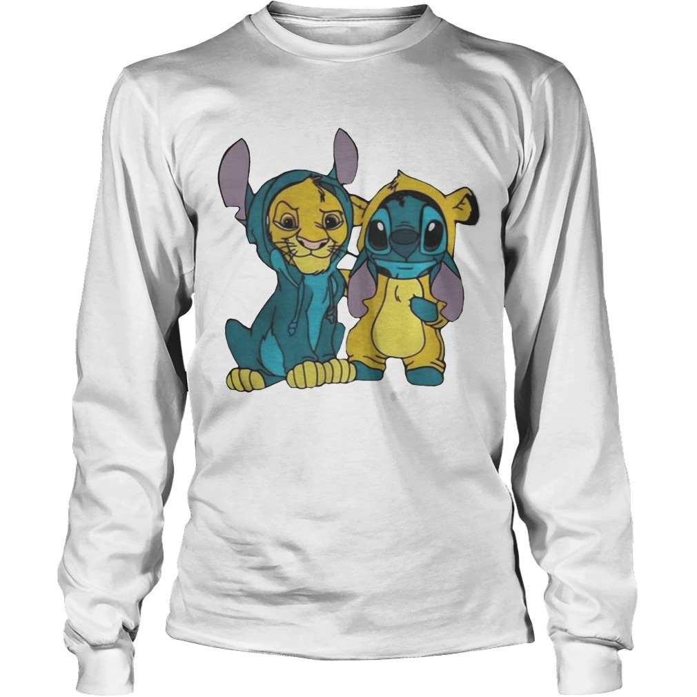 Baby Simba And Stitch Best Friend Long Sleeve Tee