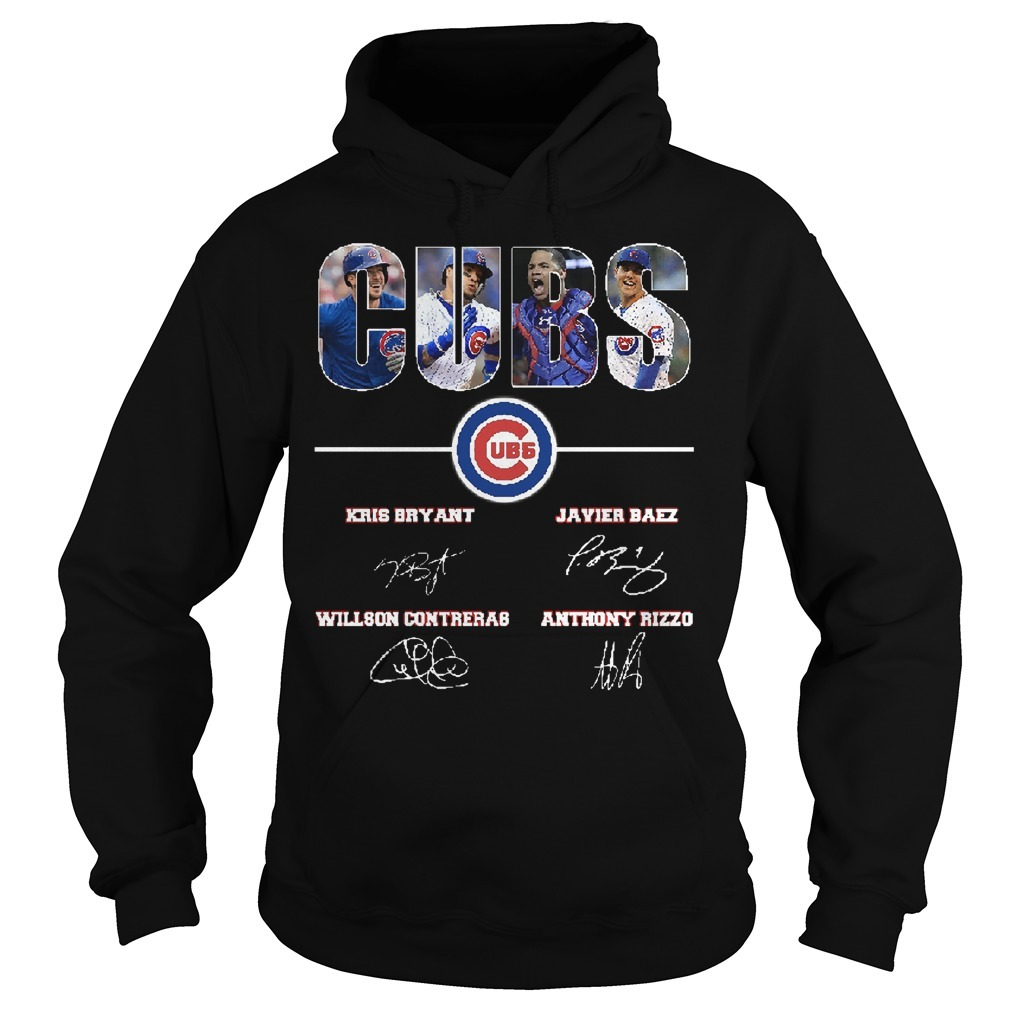 Chicago Cubs Kris Bryant Javier Baez Willson Contreras Anthony Rizzo Signatures Hoodie