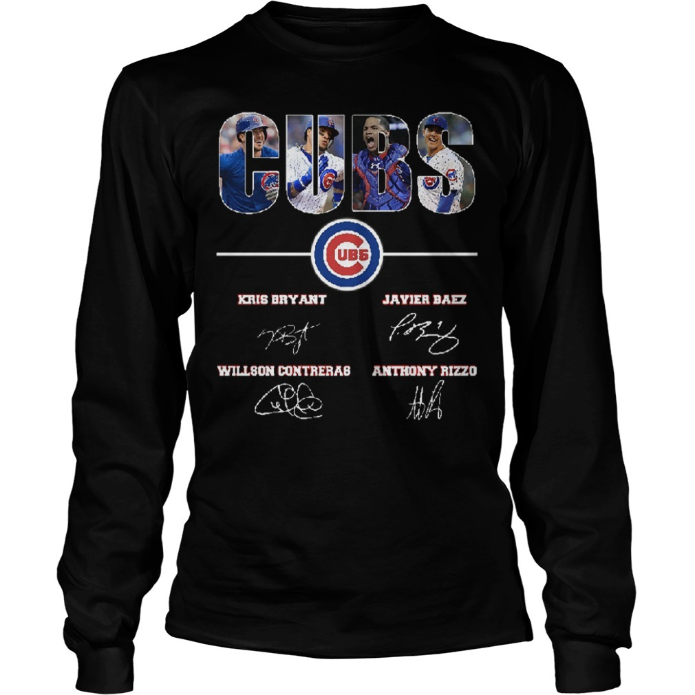 Chicago Cubs Kris Bryant Javier Baez Willson Contreras Anthony Rizzo Signatures Longsleeve Tee