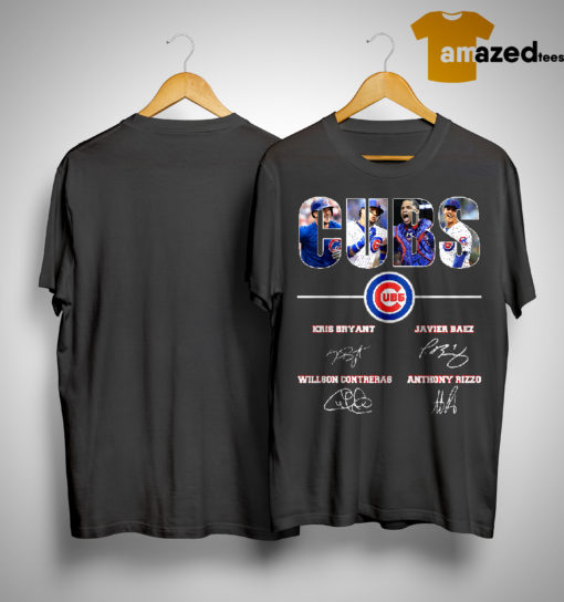 Chicago Cubs Kris Bryant Javier Baez Willson Contreras Anthony Rizzo Signatures Shirt